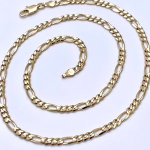 """Jewelry - Solid 14k YG Figaro Link 18"""" Chain Necklace"""